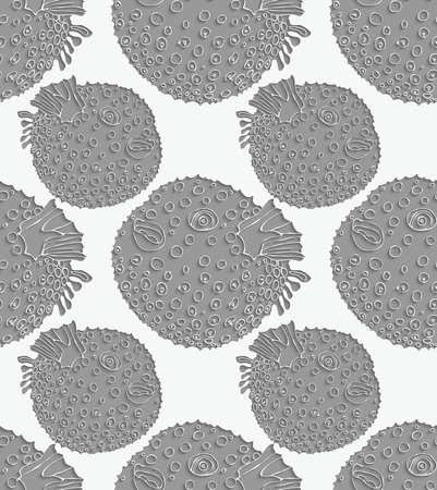 Blowfish 3D perforated.Seamless pattern. Sea life. Illustration