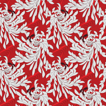 Aster flower on red waves.Seamless pattern. Flower design.