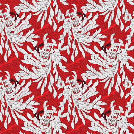 aster: Aster flower on red waves.Seamless pattern. Flower design.