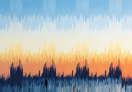 Abstract blue and orange sky.Mosaic background. Abstract nature backdrop. Oil painting simulation with mosaic elements.