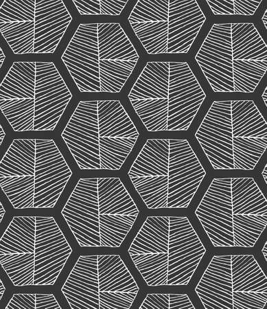 Hatched hexagons with seam on black.Black and white simple hatched geometrical pattern.Hand drawn with ink seamless background.Modern hipster style design.