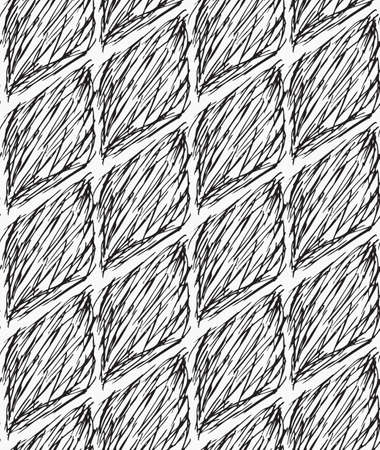 inked: Inked strokes in diamond shape on white.Seamless pattern. Fabric design. Simple hand drawn hatched design. Illustration