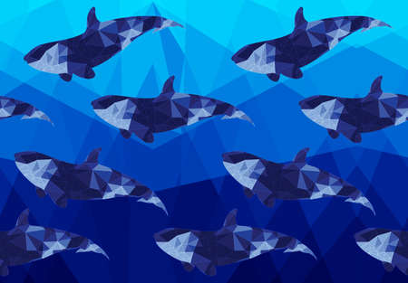 Low poly dark fish on low poly sea.Horizontal seamless pattern. Triangular underwater design. Bright blue pattern.Gradient pattern. The pattern is tiling only in horizontally. 向量圖像
