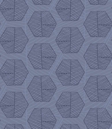hatched: Hatched hexagons layered blue.Simple hatched geometrical pattern.Hand drawn with ink seamless background.Modern hipster style design.