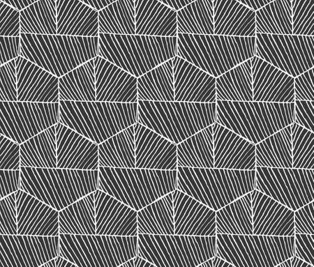 hatched: Hatched hexagons with seam horizontal on black.Black and white simple hatched geometrical pattern.Hand drawn with ink seamless background.Modern hipster style design.