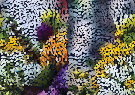 Abstract mosaic painted colors with purple.Mosaic background. Abstract nature backdrop. Oil painting simulation with mosaic elements.