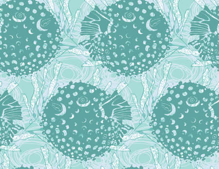 textiles: Blowfish green on kelp.Seamless pattern. Sea life. Undewater fabric design.