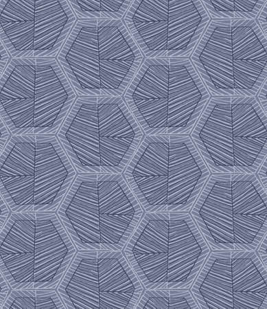 hatched: Hatched hexagons light and dark blue.Simple hatched geometrical pattern.Hand drawn with ink seamless background.Modern hipster style design. Illustration