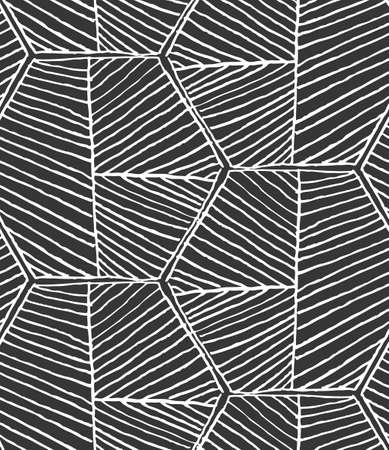hatched: Hatched hexagons forming braid.Black and white simple hatched geometrical pattern.Hand drawn with ink seamless background.Modern hipster style design.