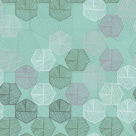 Hatched hexagons random colored on green.Simple hatched geometrical pattern.Hand drawn with ink seamless background.Modern hipster style design.