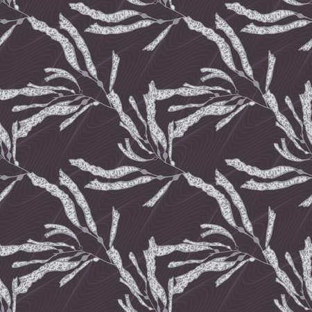 kelp: Kelp green on brown waves.Seamless pattern. Kelp fabric design Illustration