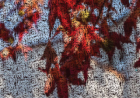 Mosaic red maple leaves.Mosaic background. Abstract nature backdrop. Oil painting simulation with mosaic elements. 向量圖像