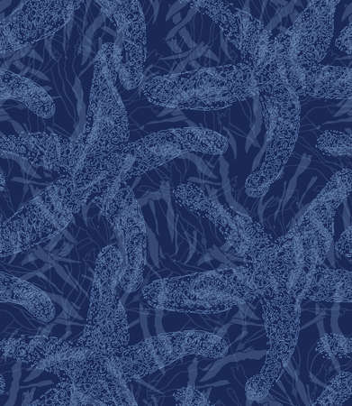 sea star: Sea star blue on kelp.Hand drawn seamless pattern. Nature textile design. Ocean fabric collection. Illustration