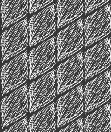inked: Inked strokes in diamond shape on black.Seamless pattern. Fabric design. Simple hand drawn hatched design. Illustration