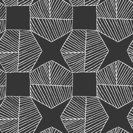 Hatched hexagons forming stars on black.Black and white simple hatched geometrical pattern.Hand drawn with ink seamless background.Modern hipster style design.