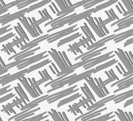 perforated: 3D hatching perforated with cut out of paper effect.Seamless pattern.
