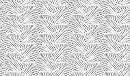 hatched: Hatched diagonally hexagons.Black and white simple hatched geometrical pattern.Hand drawn with ink seamless background.Modern hipster style design. Illustration