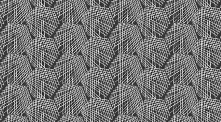 Inked strokes in hexagon shape on black.Seamless pattern. Fabric design. Simple hand drawn hatched design. Illusztráció