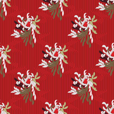 Aster flower on red grid.Seamless pattern. Flower design.
