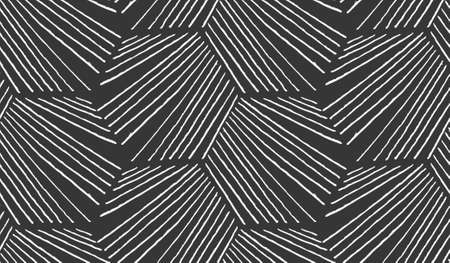Hatched diagonally hexagonal shapes on black.Black and white simple hatched geometrical pattern.Hand drawn with ink seamless background.Modern hipster style design.