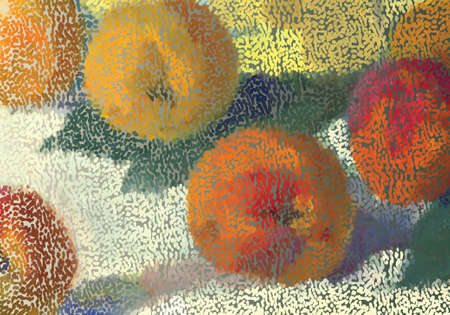 Abstract mosaic apples.Mosaic background. Abstract nature backdrop. Oil painting simulation with mosaic elements.
