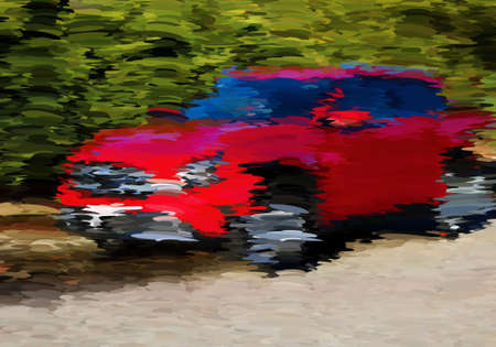 Abstract oil painted red car.Mosaic background. Abstract nature backdrop. Oil painting simulation with mosaic elements.
