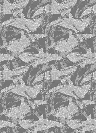inked: Underwater gray fish overlapping kelp.Seamless pattern.Ocean life fabric design. Illustration