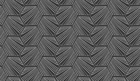 hatched: Hatched diagonally hexagons on black.Black and white simple hatched geometrical pattern.Hand drawn with ink seamless background.Modern hipster style design.