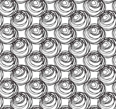 scribbles: Monochrome scribbles big circles on white.Scribbled in rough ink monochrome geometrical pattern.Hand drawn with ink seamless background.Modern hipster style design.