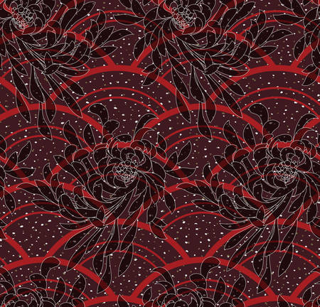 aster: Aster flower on red arcs textured with dots.Seamless pattern. Flower design. Aster flower fabric design. Illustration