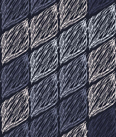coups encrées en forme de diamant sur le patron blue.Seamless. Création de tissus. main simple dessiné la conception écloses. Vecteurs