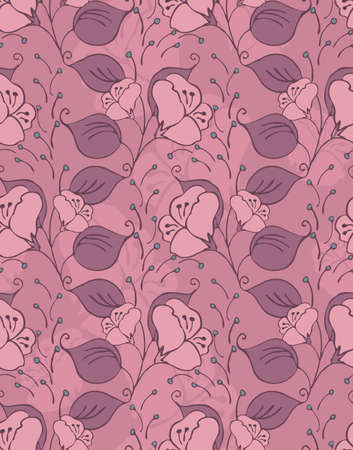 inking: Fabric design flower pink with leaves.Hand drawn with ink seamless background.Floral textile pattern.