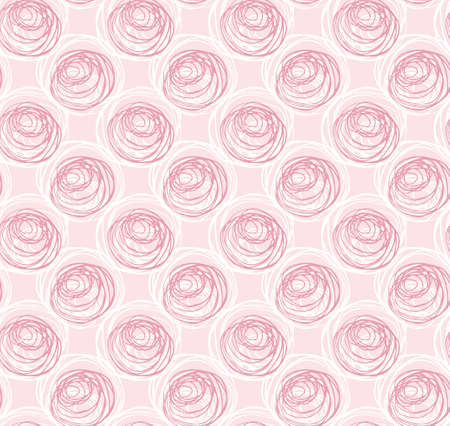 Scribbled circles big and small layered on pink.Scribbled in rough ink geometrical pattern.Hand drawn with ink seamless background.Modern hipster style design.