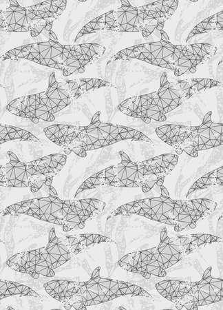 Underwater fish triangular gray.Seamless pattern.Ocean life fabric design. 矢量图像