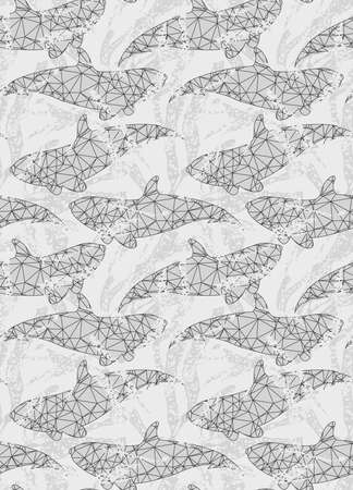 inked: Underwater fish triangular gray.Seamless pattern.Ocean life fabric design. Illustration