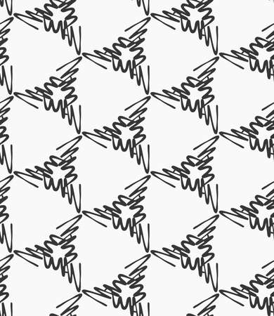 patter: Scribbled strokes forming triangles on white.Hand drawn with ink seamless background. Seamless patter. Fabric design. Textile collection.