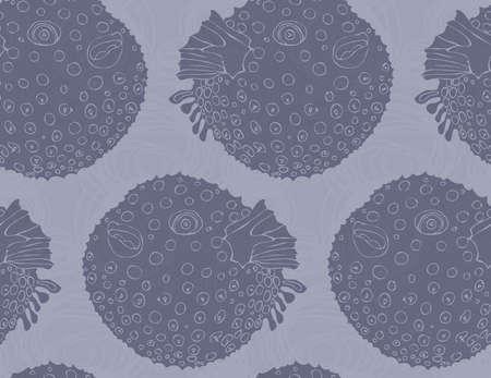 pez globo: Blowfish en el patr�n de bubbles.Seamless garabateado. Vida marina. dise�o de la tela Undewater.