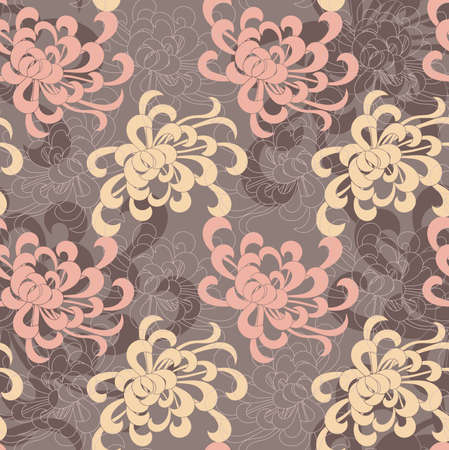 aster: Aster flower overlapping pink and yellow.Seamless pattern. Floral fabric collection.