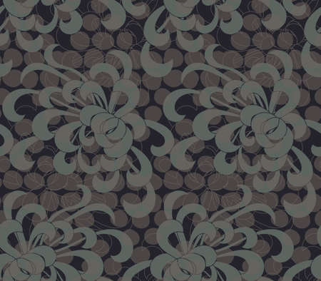 aster: Aster flower green with overlaying dots.Seamless pattern. Floral fabric collection.