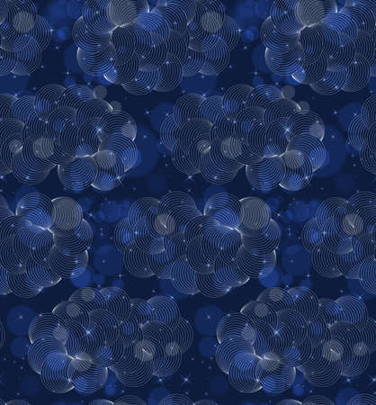 Bokeh blue clouds dark night.Seamless pattern.Pattern with bokeh light effect.Colorful background.