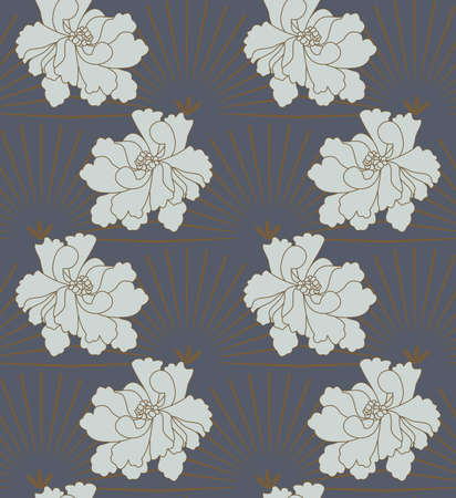 aster: Aster flower green on gray.Hand drawn floral seamless background.Botanical repainting design for fabric or textile. Illustration