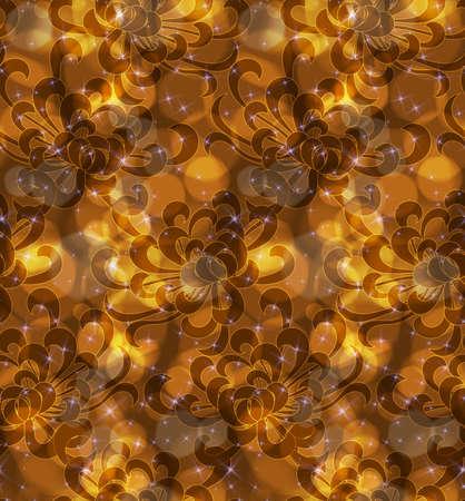 aster: Aster flower orange with light bokeh.Seamless pattern.