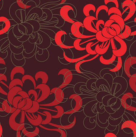 Aster flower red overlapping on brown.Seamless pattern. Floral fabric collection.