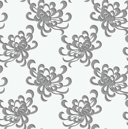 aster: Aster flower 3D perforated paper.Seamless pattern. Illustration