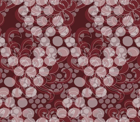 Aster flower red with overlaying dots.Seamless pattern. Floral fabric collection.