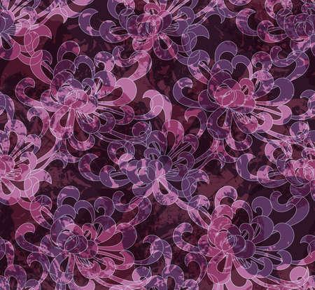 グランジ テクスチャとアスターの花。シームレス パターン。花柄生地のコレクションです。  イラスト・ベクター素材