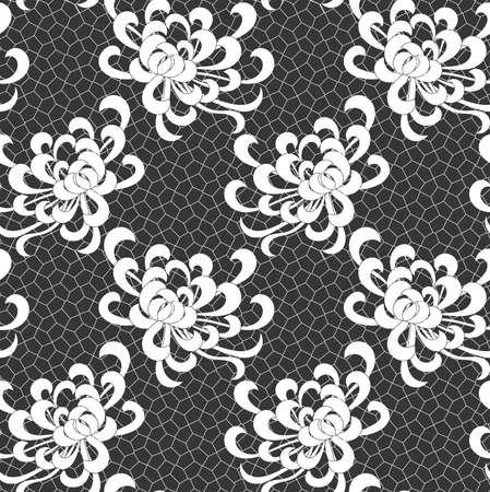 アスターは黒いネット上白い花。シームレス パターン。花柄生地のコレクションです。