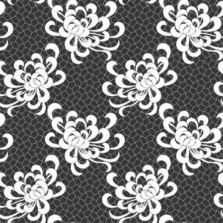 aster: Aster flower white on black net.Seamless pattern. Floral fabric collection.