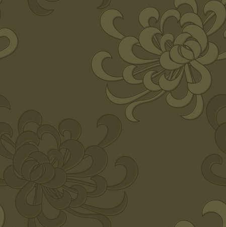 アスターの花のグリーン。シームレス パターン。花柄生地のコレクションです。  イラスト・ベクター素材
