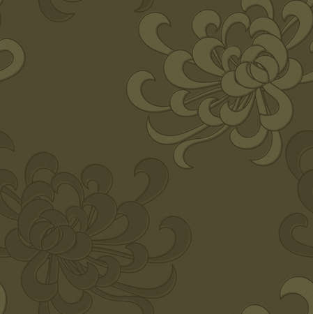 Aster flower green.Seamless pattern. Floral fabric collection.